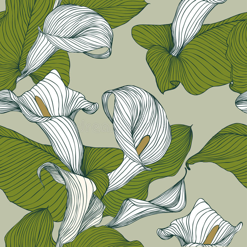 Naadloos bloemenpatroon - calla stock illustratie