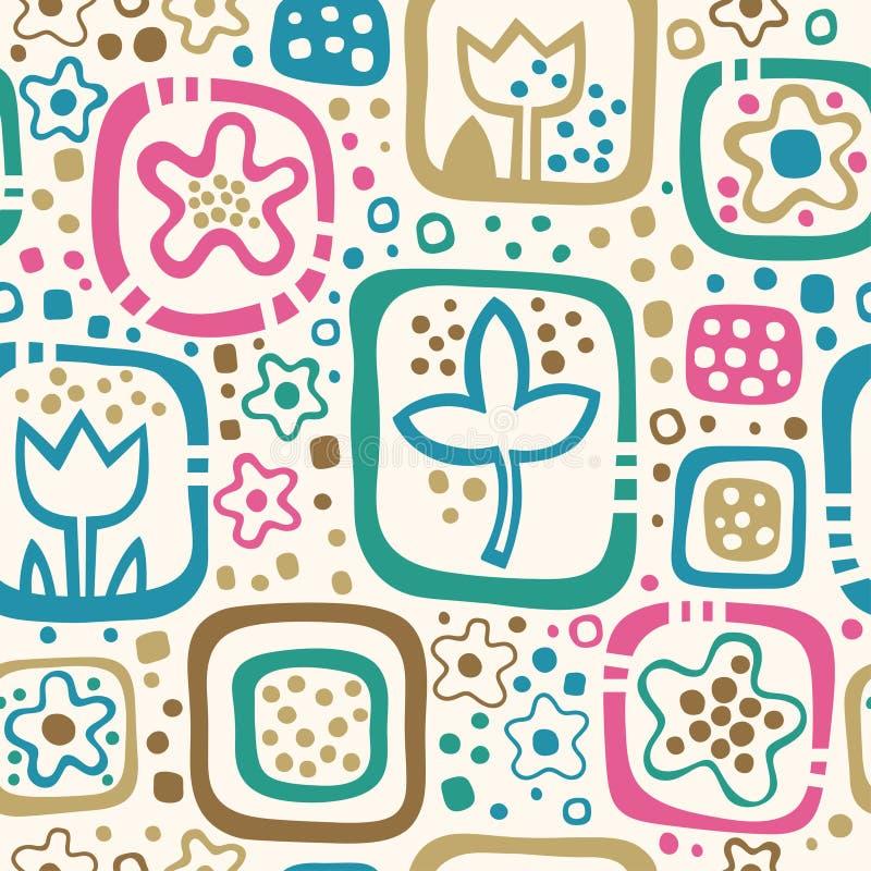 Naadloos bloemenpatroon, de zomermalplaatje met abst royalty-vrije illustratie