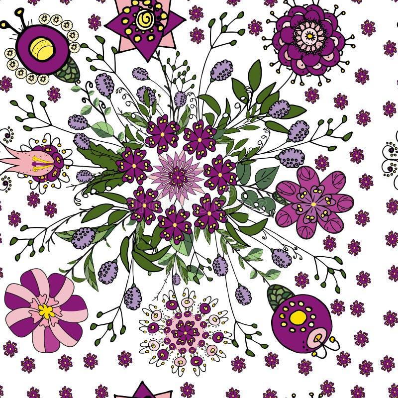 Naadloos bloemenpatroon in etnische fantasiestijl in violette en groene kleuren voor het verfraaien van groetkaarten, die tot tex royalty-vrije illustratie