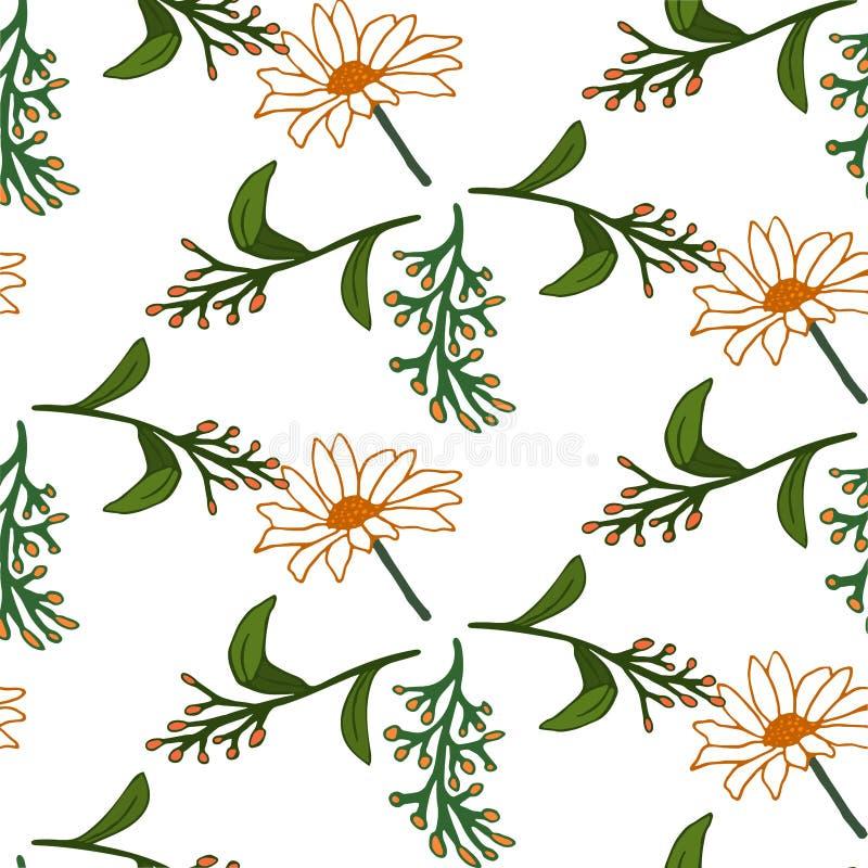 Naadloos BloemenPatroon Geïsoleerdee vectorillustratie stock illustratie