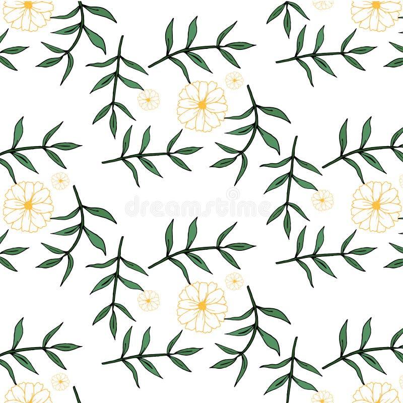 Naadloos BloemenPatroon Geïsoleerdee vectorillustratie royalty-vrije illustratie