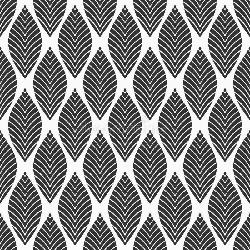 Naadloos BloemenPatroon Geometrische textuur die van bladeren wordt gemaakt Vector zwart-wit achtergrond stock illustratie
