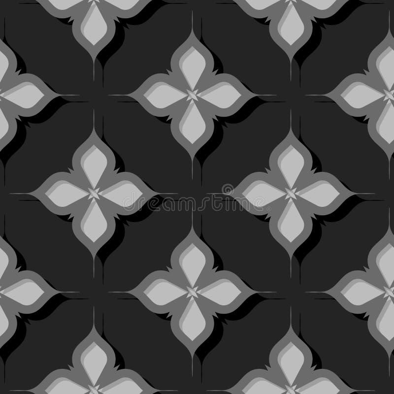 Naadloos BloemenPatroon Grijze 3d ontwerpen stock illustratie