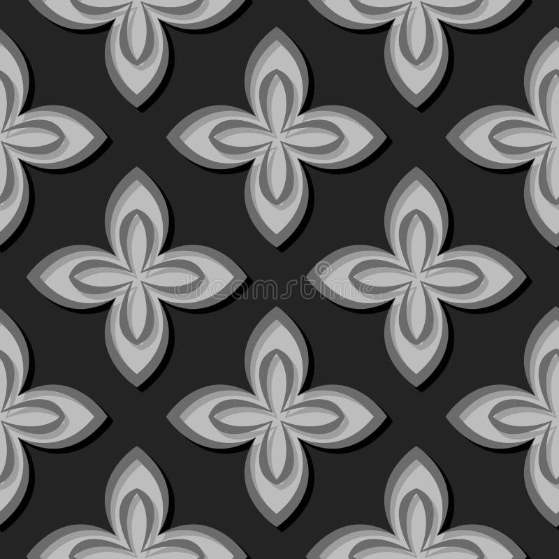Naadloos BloemenPatroon Grijze 3d ontwerpen royalty-vrije illustratie