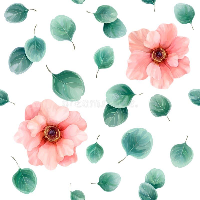 Naadloos bloemenpatroon met anemonen en eucalyptusbladeren vector illustratie