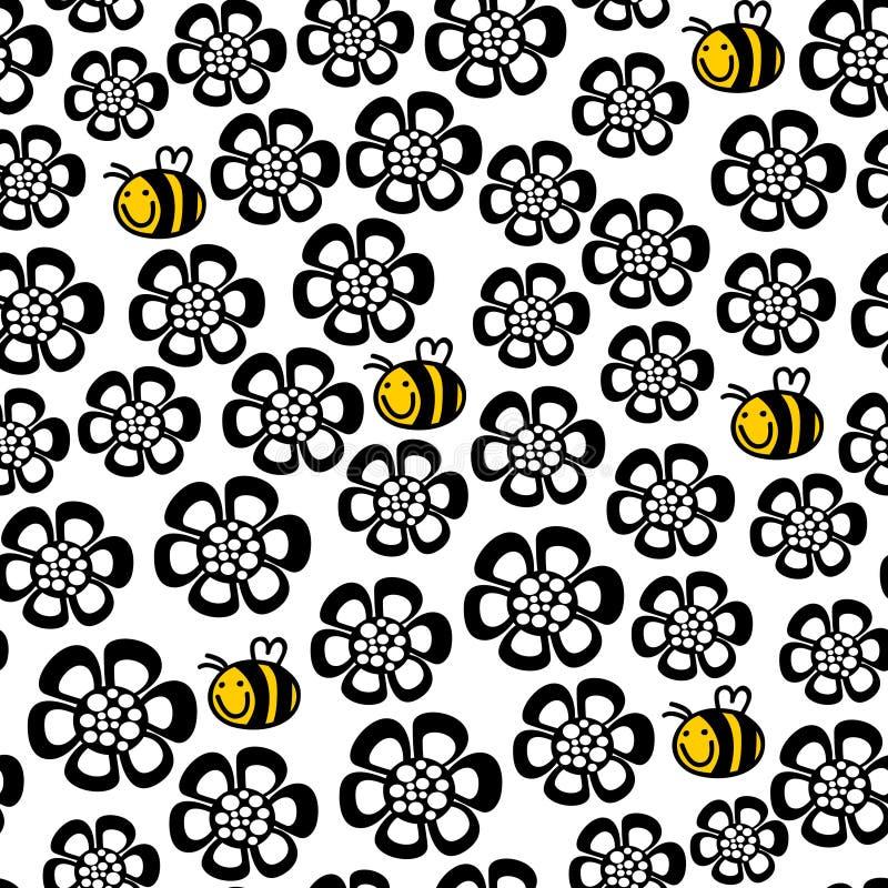 Naadloos bloemenpatroon met beeldverhaalbij. vector illustratie