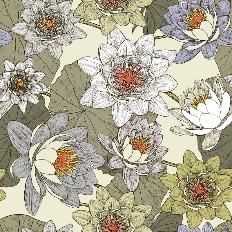 Naadloos bloemenpatroon met bloeiende waterlelies vector illustratie