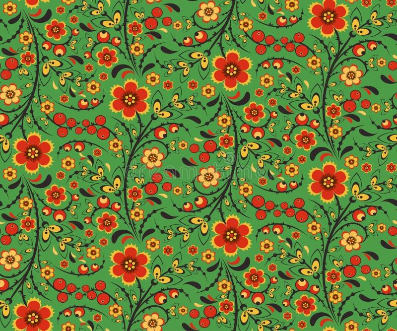 Naadloos bloemenpatroon met bloemen in Hohloma-stijl stock illustratie