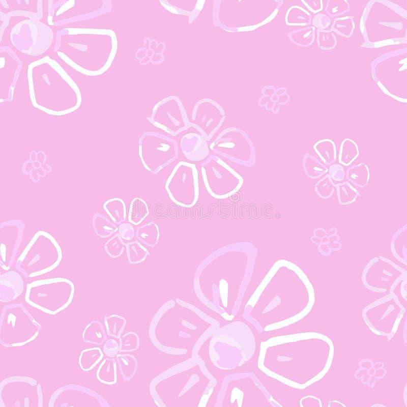 Naadloos bloemenpatroon met bloemen in uitstekende stijl stock illustratie