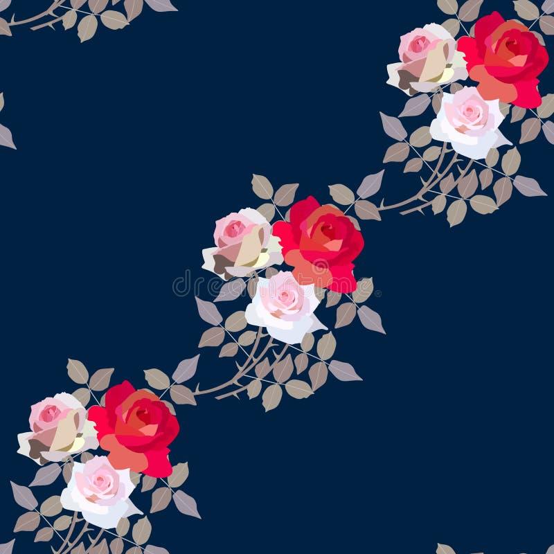 Naadloos bloemenpatroon met boeketten van het tuinieren rozen Diagonale samenstelling vector illustratie