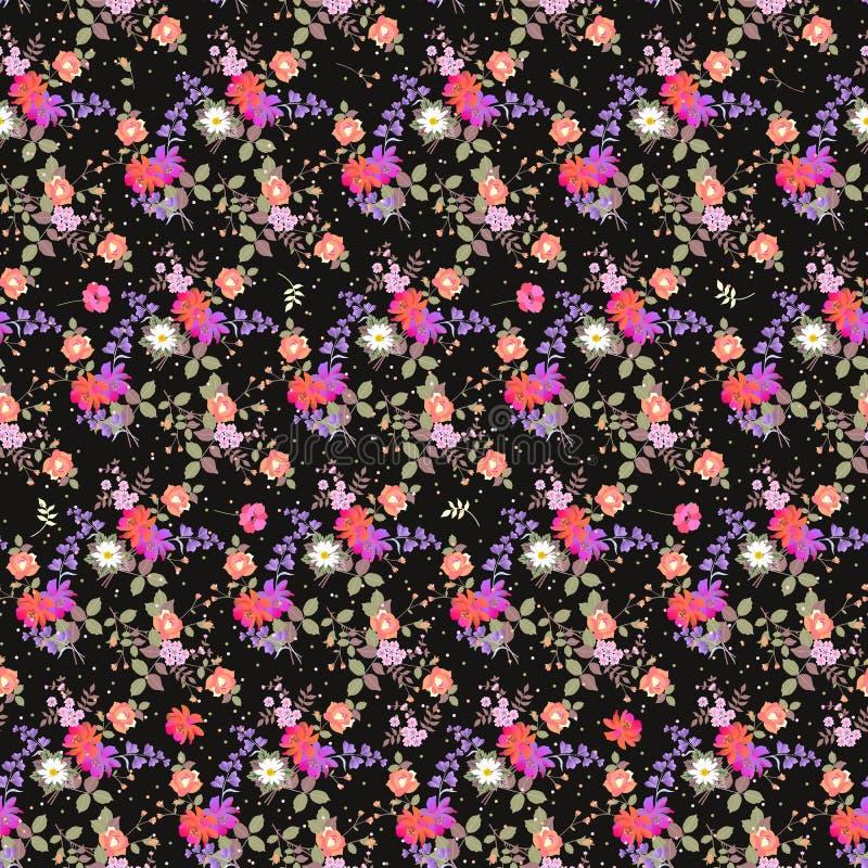 Naadloos bloemenpatroon met boeketten van tuinbloemen en veelkleurige confettien Druk voor stof Klok en kosmosbloemen stock illustratie