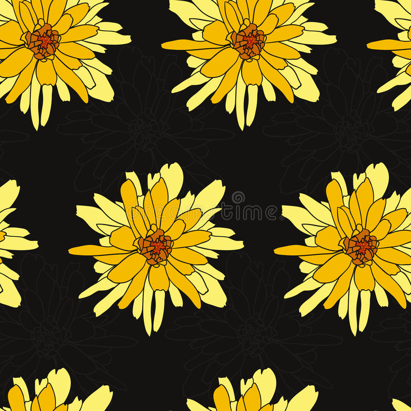 Naadloos bloemenpatroon met chrysant royalty-vrije stock fotografie