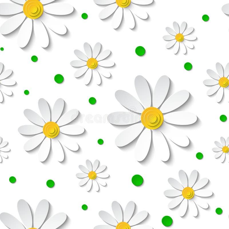 Naadloos bloemenpatroon met 3d kamilles met groene punten royalty-vrije illustratie