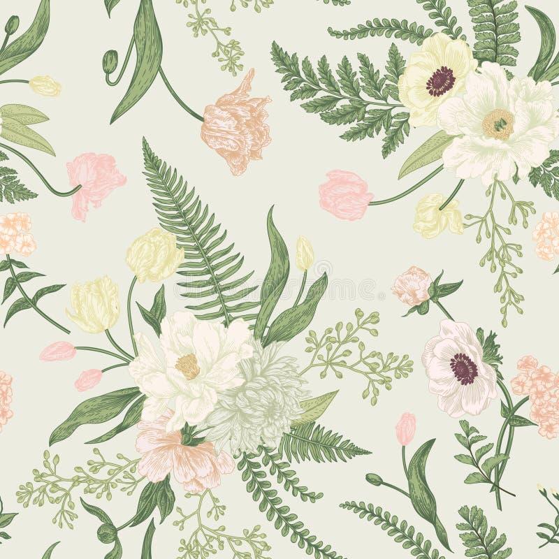 Naadloos bloemenpatroon met de lentebloemen vector illustratie