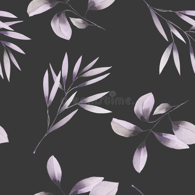 Naadloos bloemenpatroon met de waterverf purpere bladeren op de takken royalty-vrije illustratie