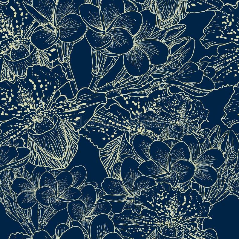Naadloos bloemenpatroon met exotische bloemen stock illustratie