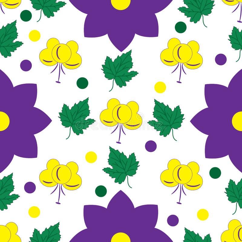 Naadloos bloemenpatroon met gele en lilac bloemen en bladeren royalty-vrije illustratie