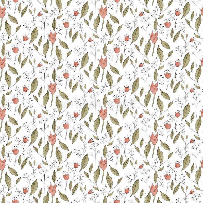 Naadloos bloemenpatroon met gestileerde elementen royalty-vrije illustratie