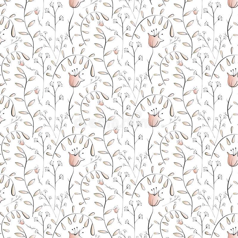 Naadloos bloemenpatroon met gestileerde elementen stock illustratie