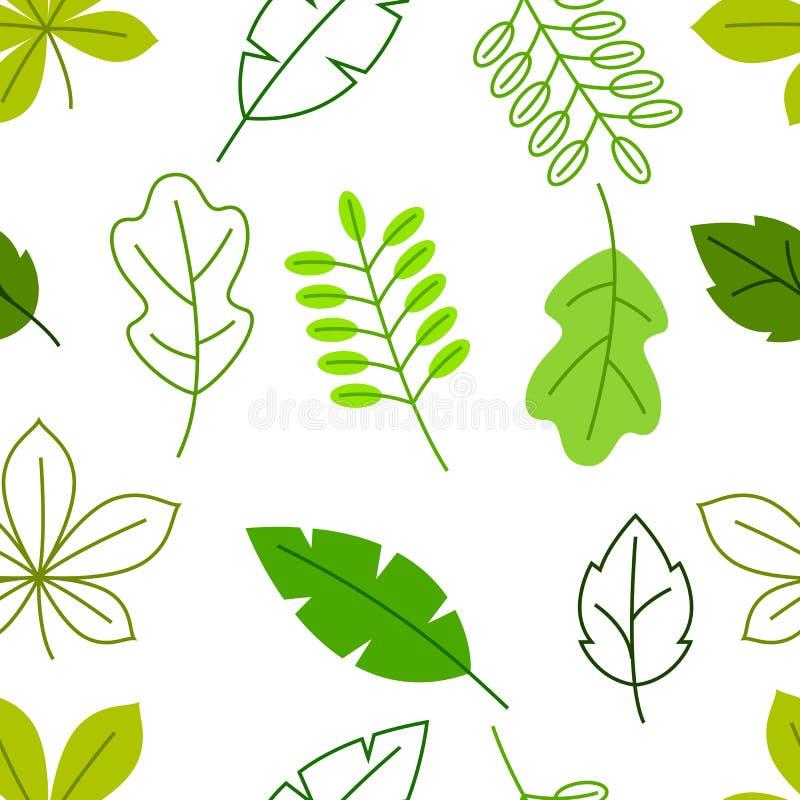 Naadloos bloemenpatroon met gestileerde groene bladeren De lente of de zomergebladerte vector illustratie