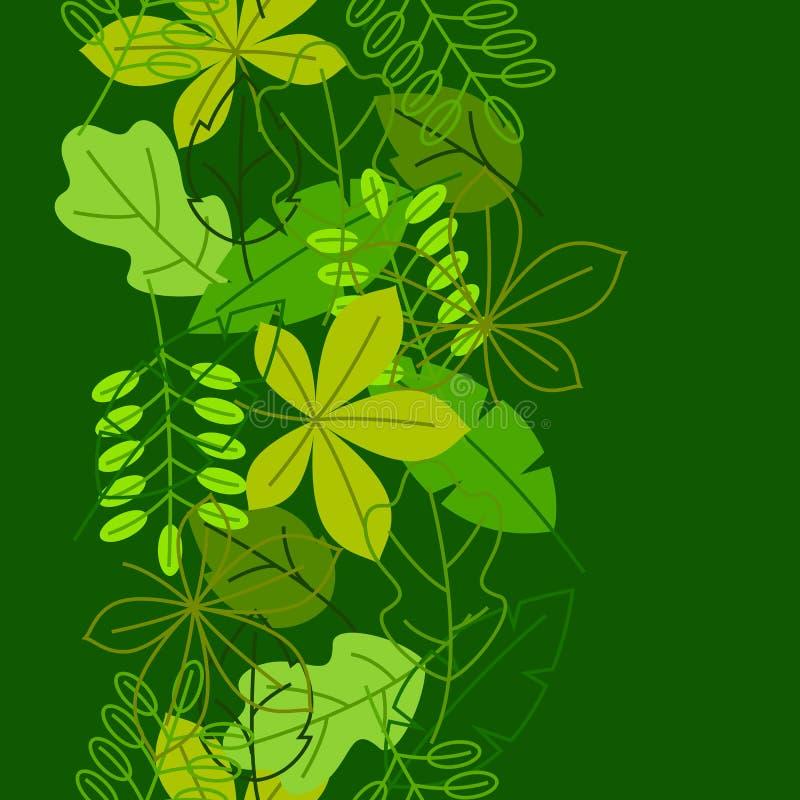 Naadloos bloemenpatroon met gestileerde groene bladeren De lente of de zomergebladerte royalty-vrije illustratie