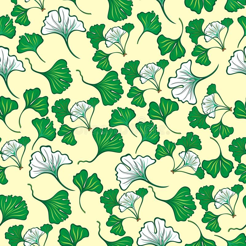 Naadloos bloemenpatroon met Ginkgo-bladeren Ginkgo Biloba vector illustratie
