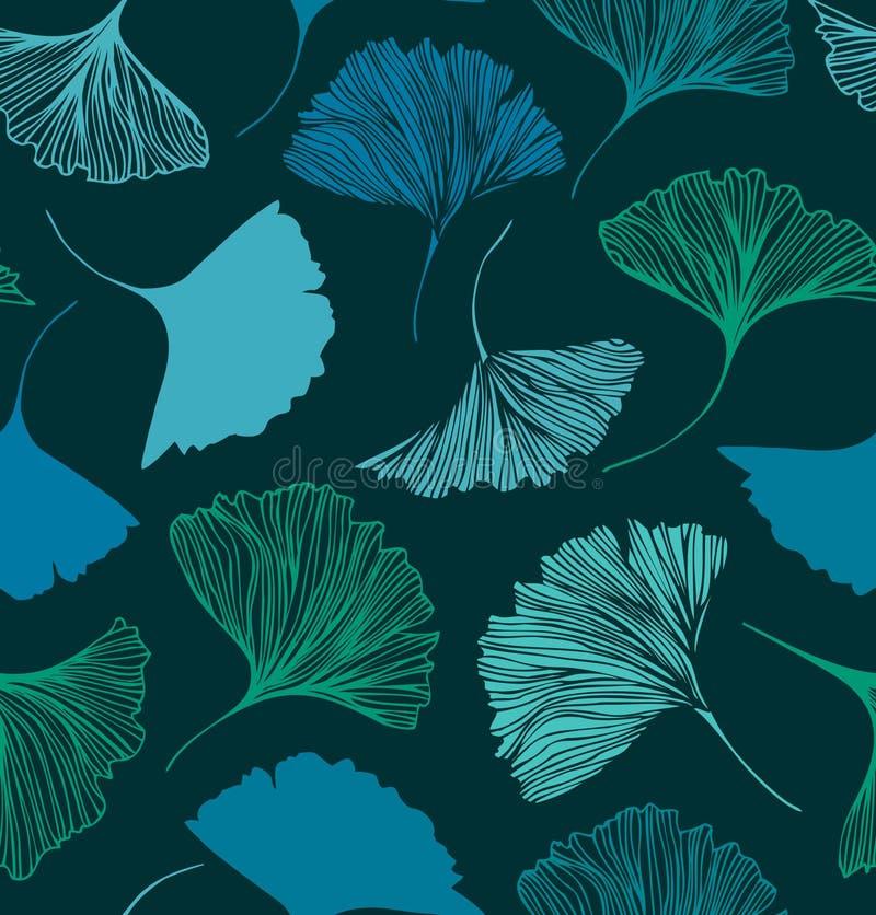 Naadloos bloemenpatroon met Ginkgo-bladeren Vector grafische achtergrond stock illustratie