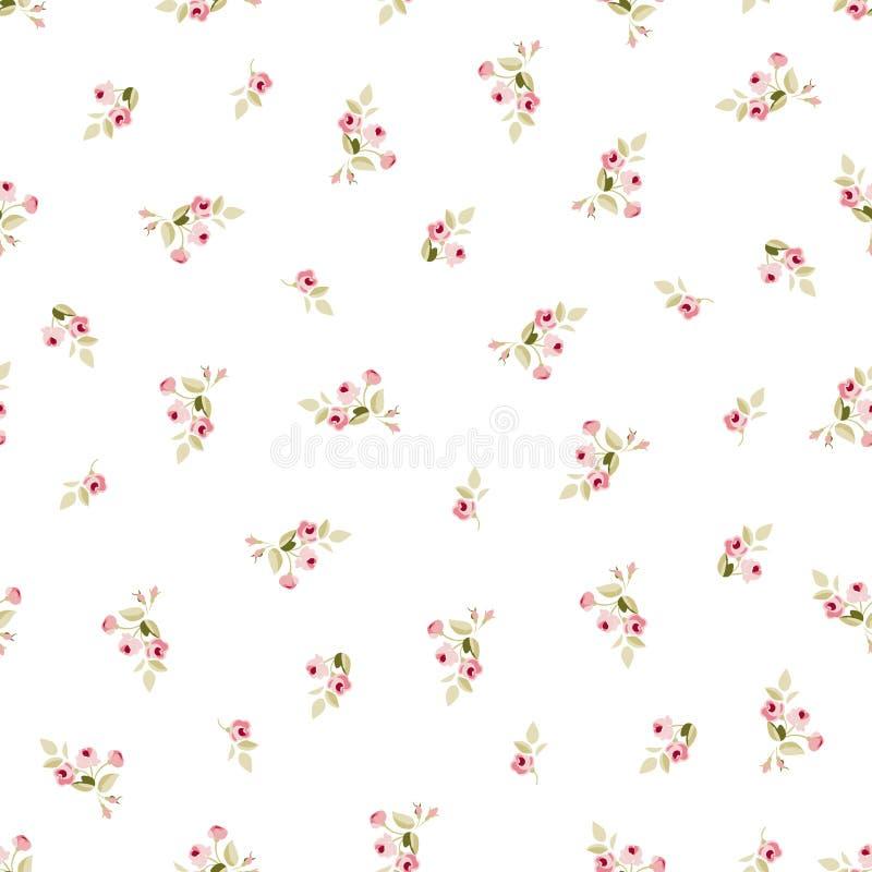 Naadloos bloemenpatroon met kleine rode rozen vector illustratie