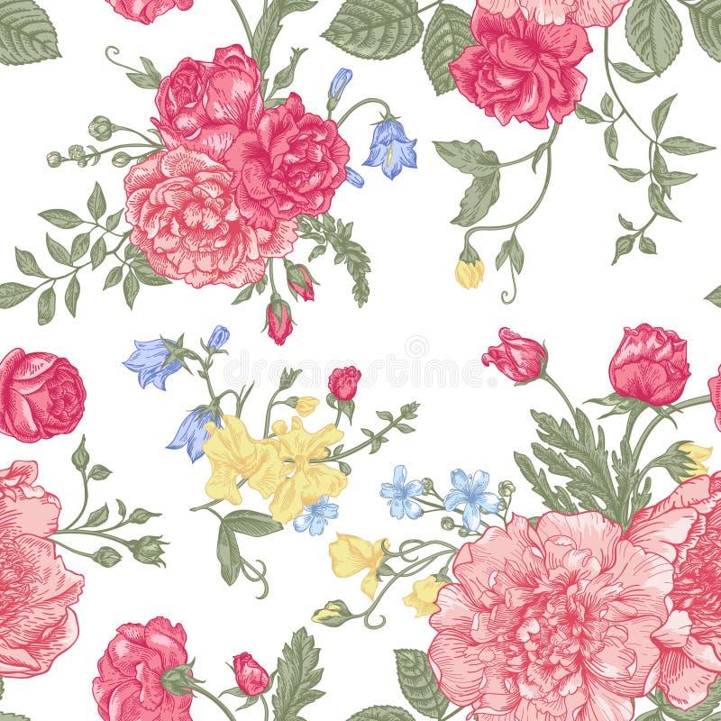 Naadloos bloemenpatroon met kleurrijke bloemen stock illustratie