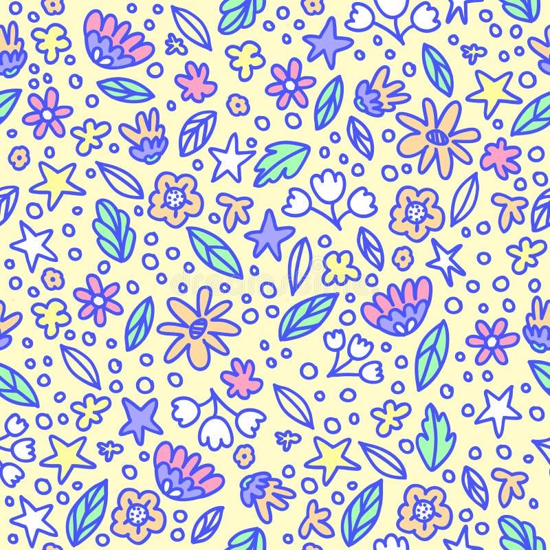 Naadloos bloemenpatroon met krabbelbloemen en bladeren in pastelkleuren Vector illustratie De in bloemen voor girly drukken Hand vector illustratie