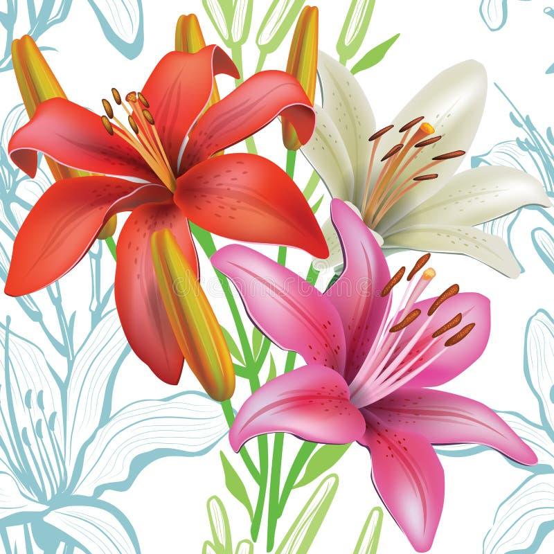 Naadloos bloemenpatroon met lelies vector illustratie