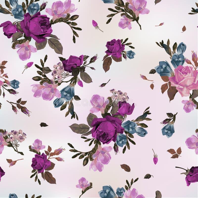 Naadloos bloemenpatroon met purpere en roze rozen en fresia, vector illustratie