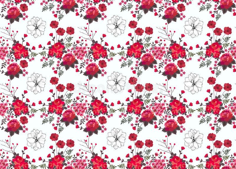 Naadloos bloemenpatroon met rode die rozen, bessen en papavers op witte achtergrond worden geïsoleerd Druk voor gordijn Het vecto vector illustratie