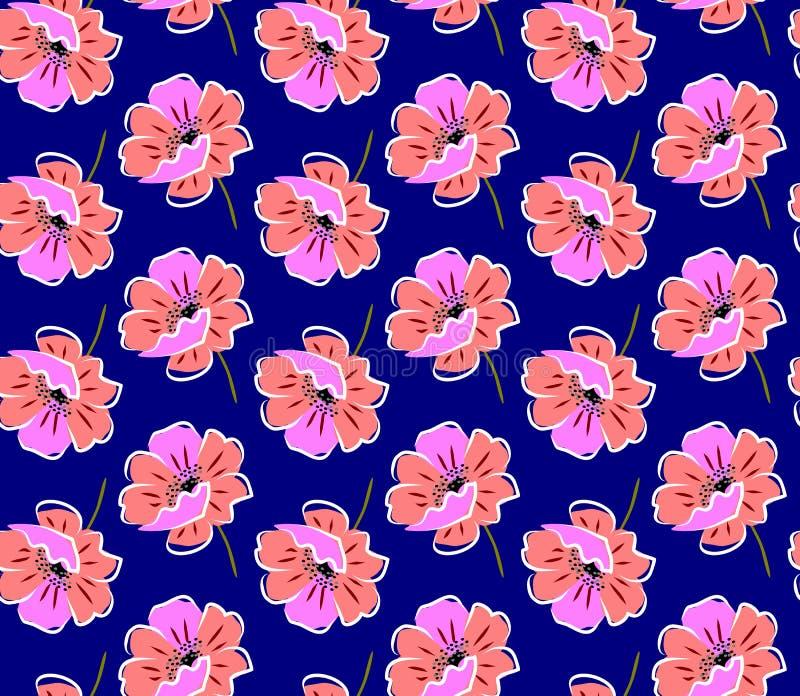 Naadloos bloemenpatroon met rode en roze papavers op heldere blauwe achtergrond in vector vector illustratie