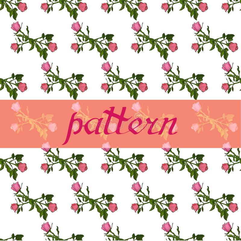 Naadloos bloemenpatroon met rozen Bloemen vectorillustratie royalty-vrije illustratie