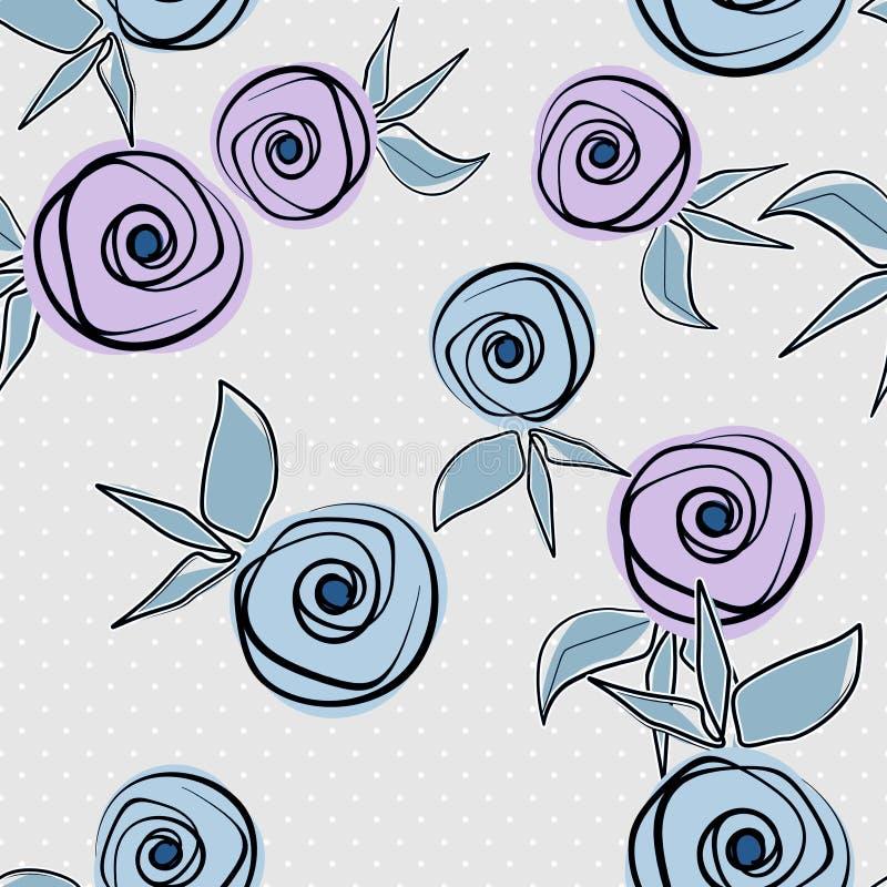 Naadloos bloemenpatroon met rozen op grijze achtergrond stock illustratie