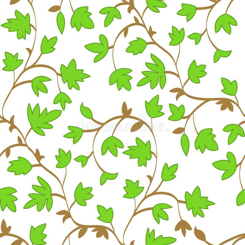 Naadloos bloemenpatroon met takken en bladeren in de zomerstijl, abstracte textuur, eindeloze achtergrond Vector stock illustratie