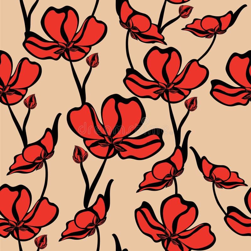 Naadloos bloemenpatroon met tropische bloemen royalty-vrije illustratie