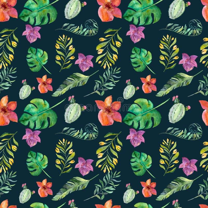 Naadloos bloemenpatroon met tropische bloemen, waterverf vector illustratie