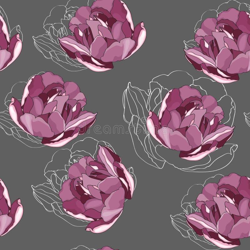 Naadloos bloemenpatroon met violet tulpen en lijnsilhouet vector illustratie