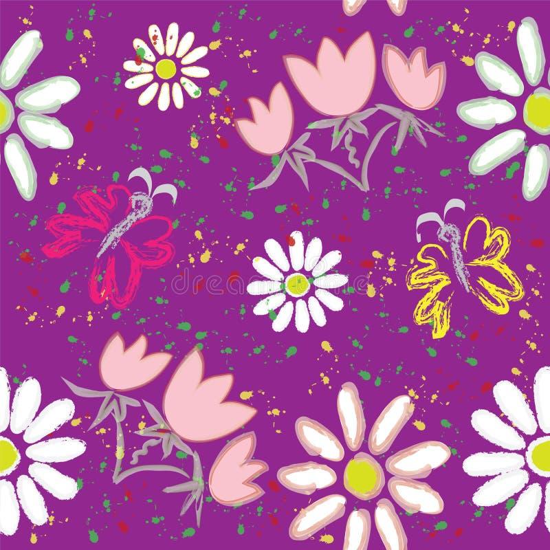 Naadloos bloemenpatroon met vlinder en regenboog vector illustratie