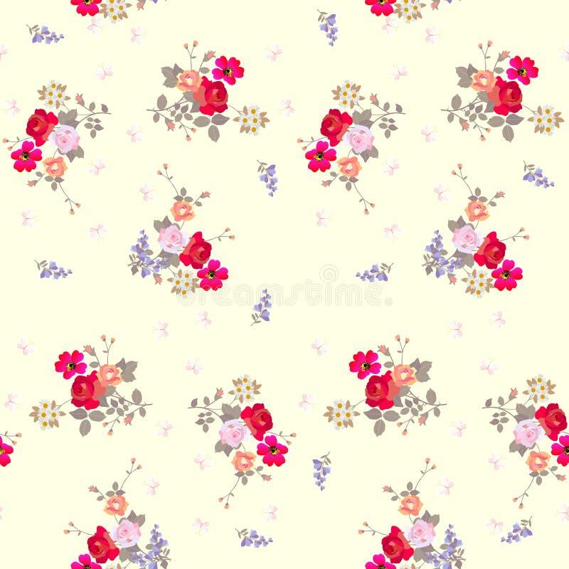 Naadloos bloemenpatroon met vlinders op lichtgele achtergrond royalty-vrije illustratie
