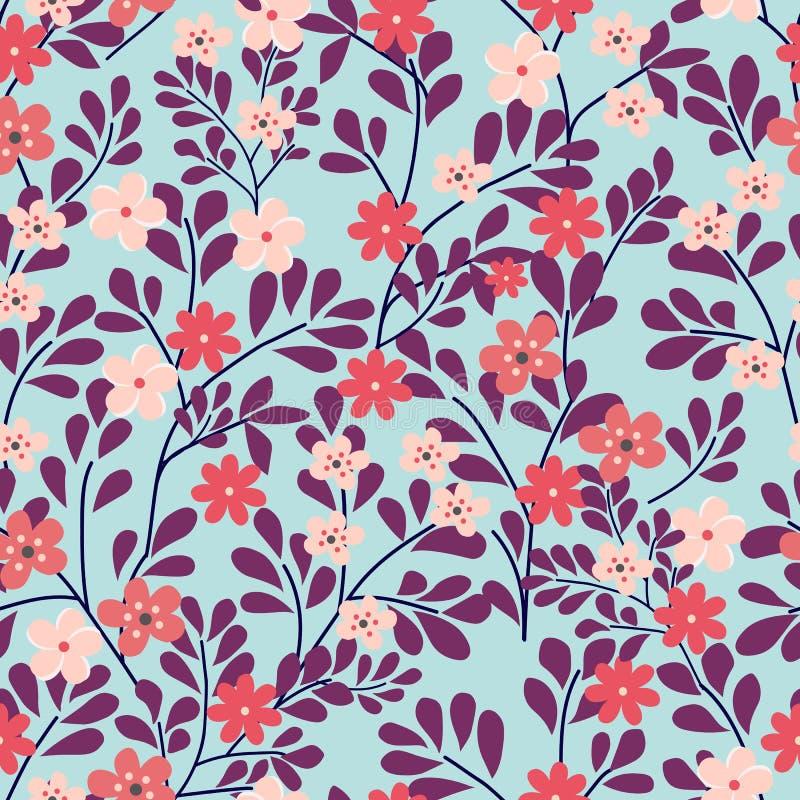 Naadloos BloemenPatroon op Blauwe Achtergrond Kleine roze en rode bloemen Vector illustratie stock illustratie