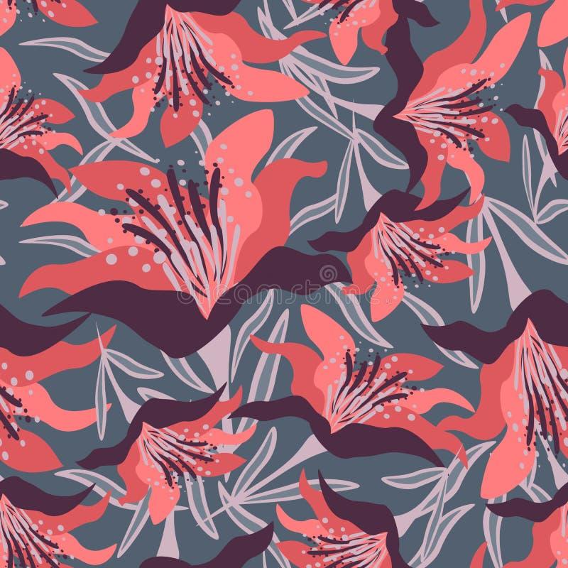Naadloos bloemenpatroon op de blauwe achtergrond met bladeren stock afbeelding