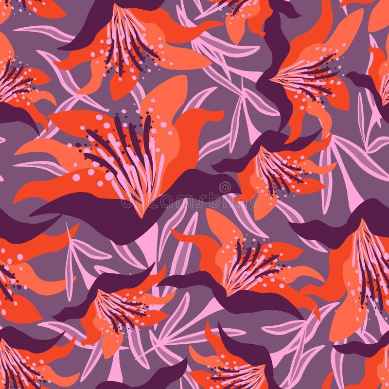 Naadloos bloemenpatroon op de violette achtergrond met bladeren royalty-vrije stock fotografie