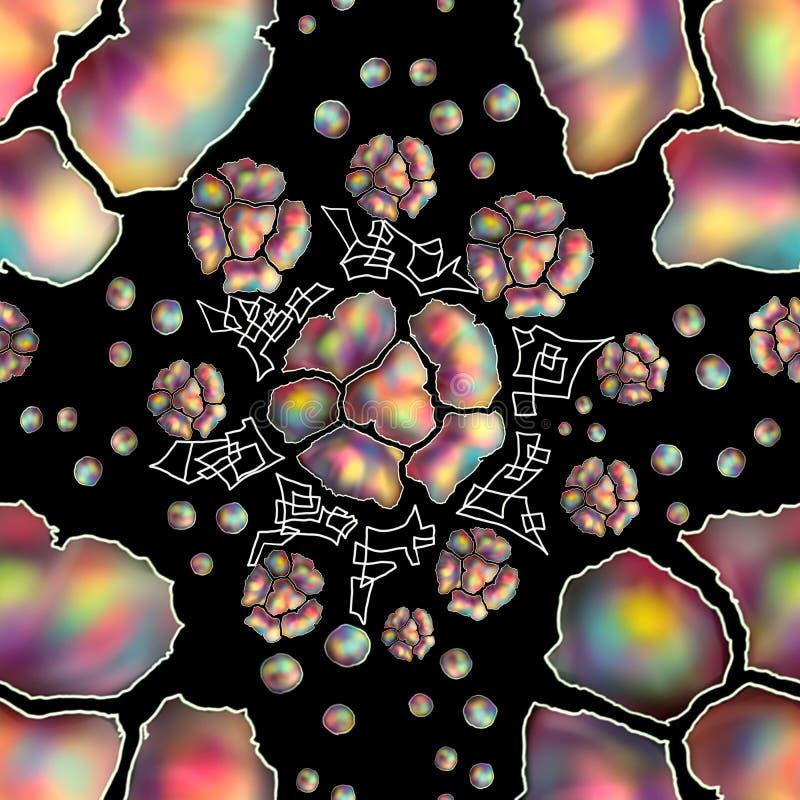 Naadloos bloemenpatroon op een zwarte achtergrond; royalty-vrije illustratie