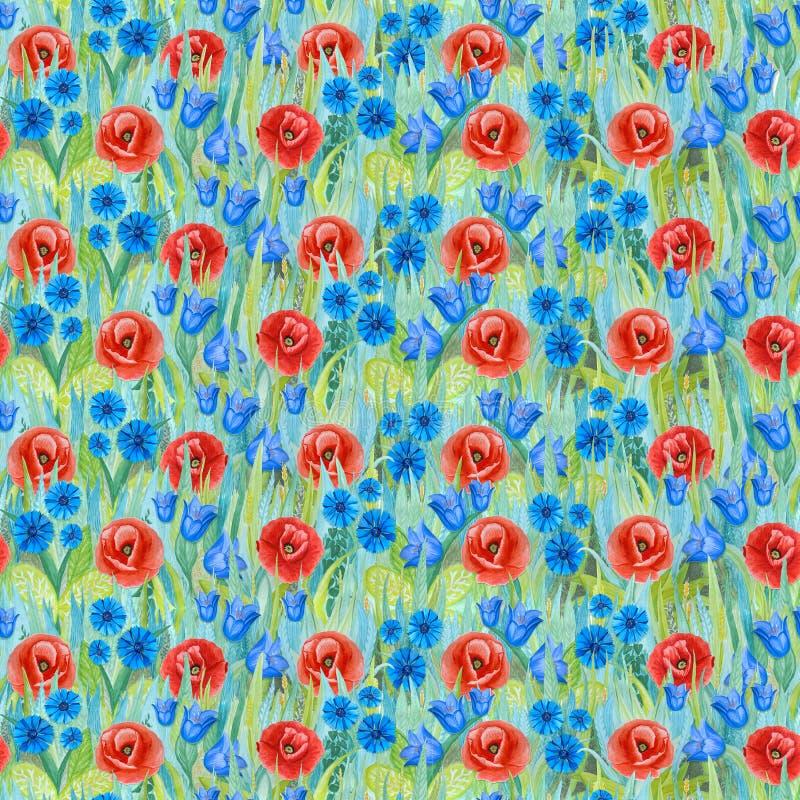 Naadloos bloemenpatroon: papaver, korenbloem, klokje, op het gras royalty-vrije illustratie