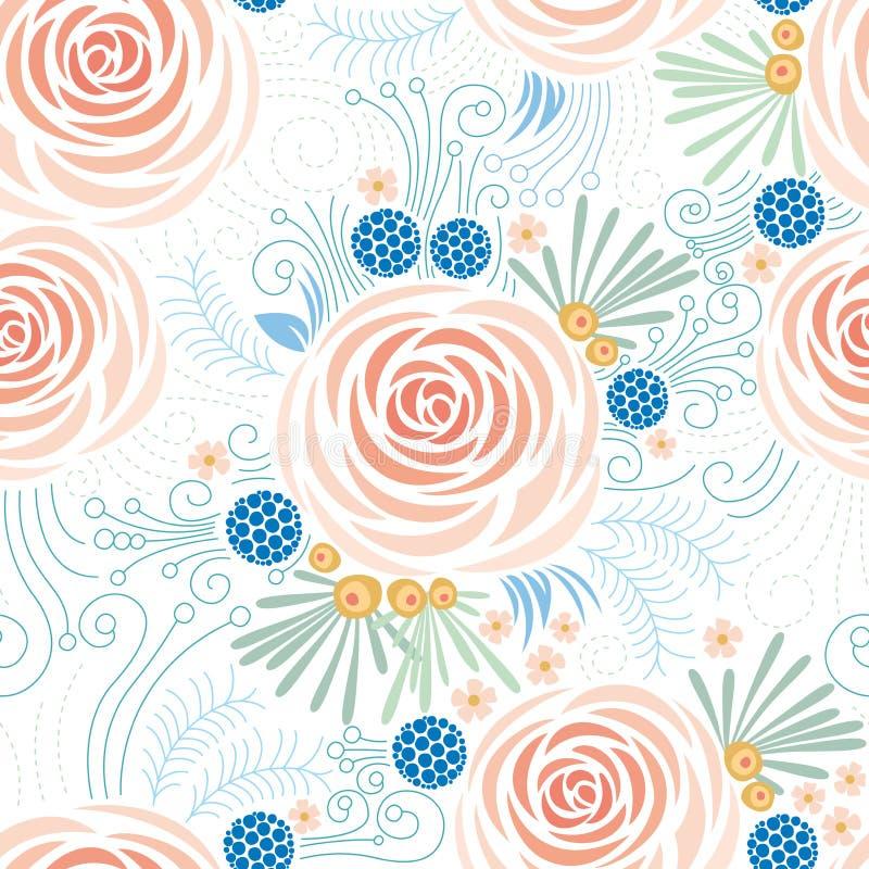 Naadloos bloemenpatroon, Pioenen royalty-vrije illustratie