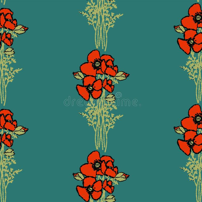 Naadloos BloemenPatroon retro patroon van stijl Rode papavers met papaverbloemen en groen gebladerte op beige Bloemen naadloze ac stock illustratie