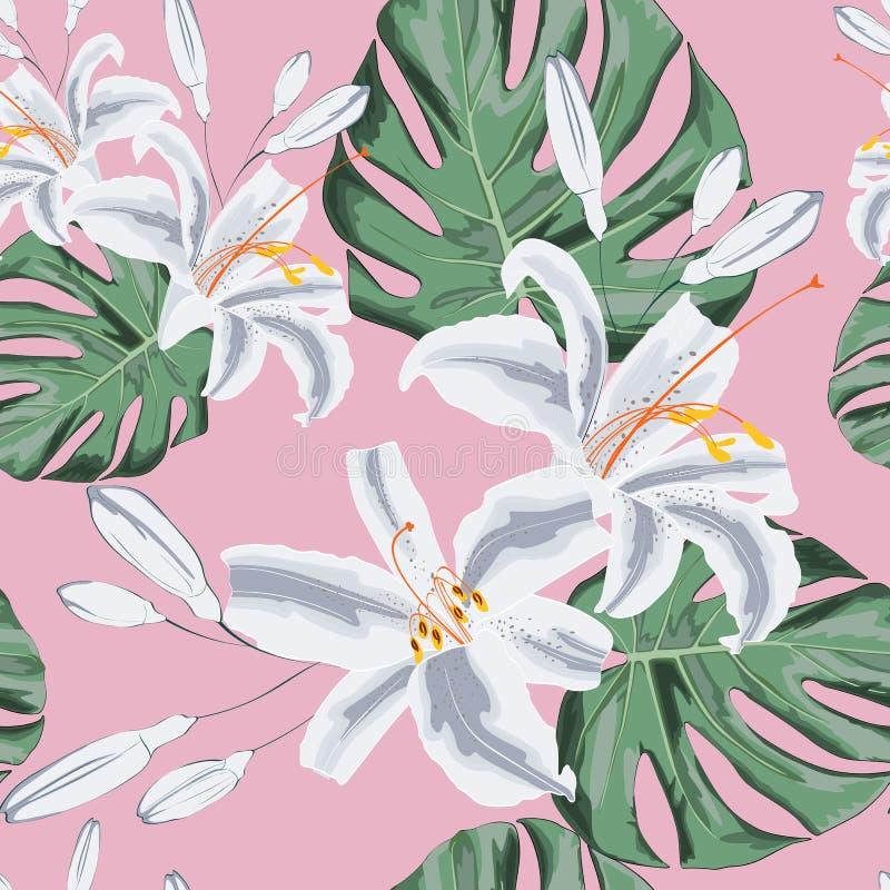 Naadloos bloemenpatroon van exotische tropische lelies en het monsterleven Geïsoleerd op lichtrose achtergrond stock illustratie